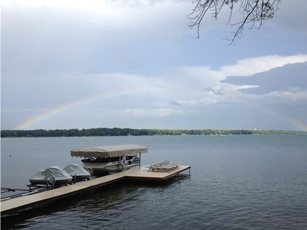 A beautiful full rainbow over Gull Lake this past weekend. A great view from our dock