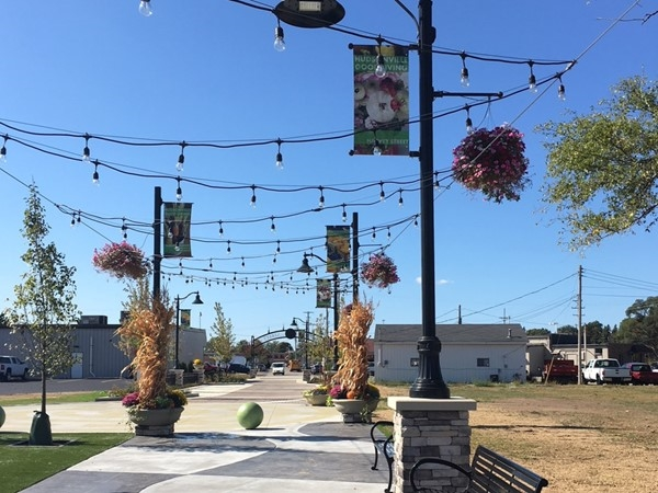 Vibrant and inviting downtown walkways are part of downtown Hudsonville near Terra Square