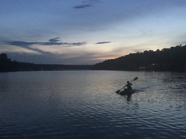Kayaking Grand Lake at sunset