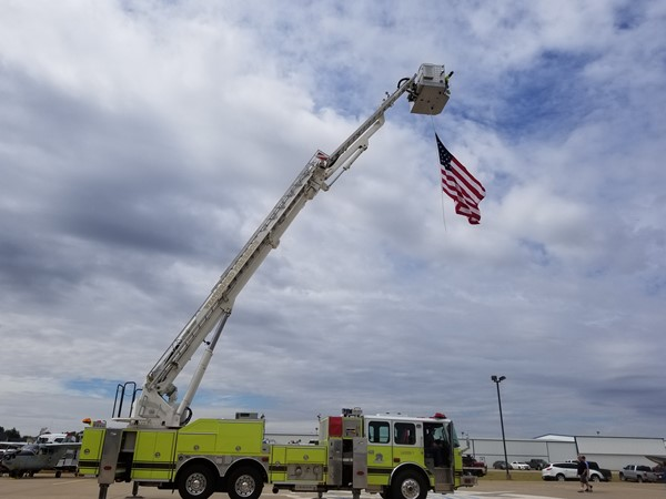 Weatherford Fire Department displaying Old Glory at Wings Over Weatherford