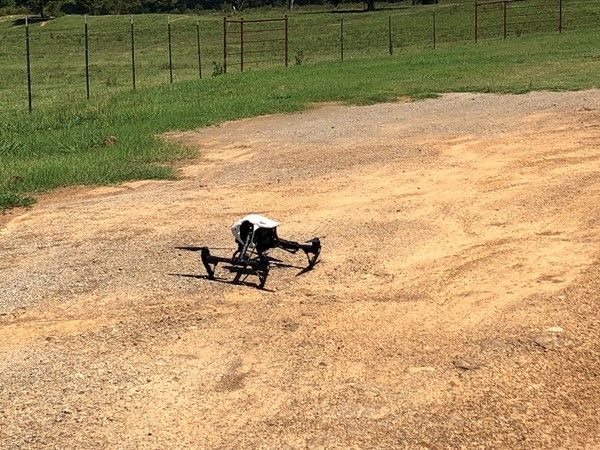 Drone getting ready for takeoff on this cattle operation off of Independence Rd in Heavener