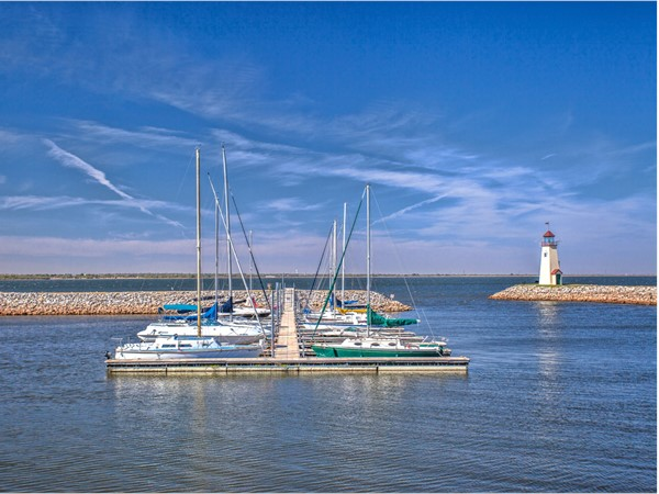 Lake Hefner has two covered piers, a heated fishing dock, and wet and dry slips for boat storage