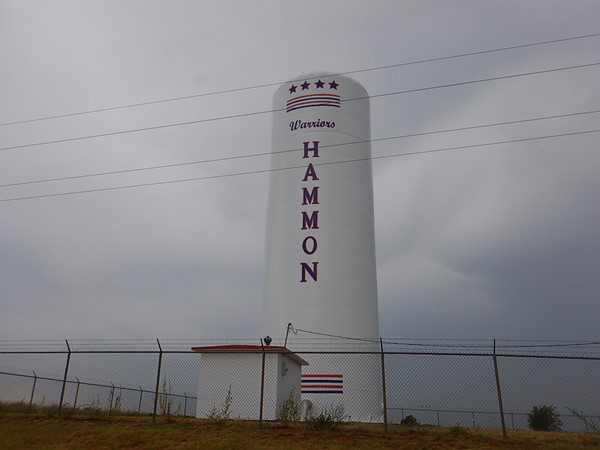 Hammon water tower.  Home of the Warriors