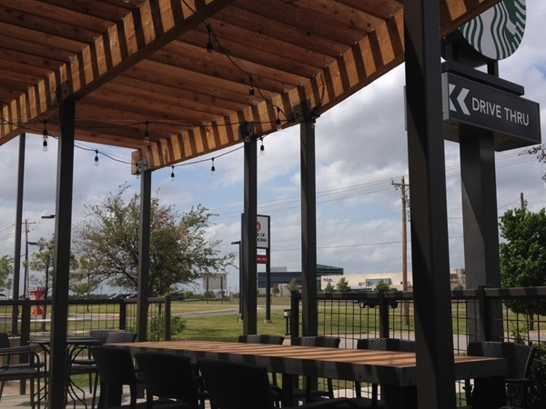 Good friends and coffee on a NW Oklahoma City Starbucks patio