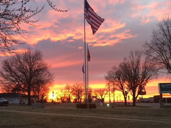 Old Glory waving in front of the Grove Community Center...beautiful