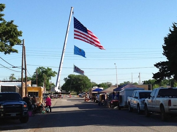 Old Glory flies over the C & A Old Settlers Celebration