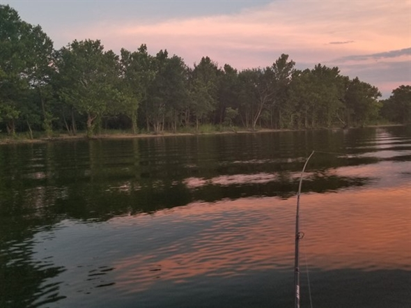 Beautiful calm evening for some great fishing on Lake Hudson