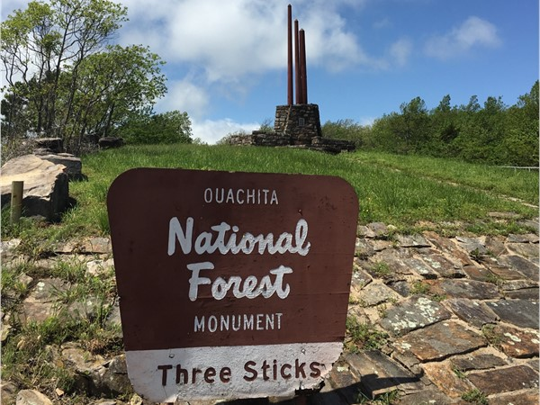 The historic Three Sticks monument on the K trail on Kiamichi Mountain in Leflore County