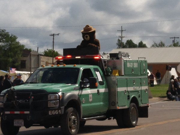 Smokey Bear representing US Forest Service in the parade for Old Settlers Day