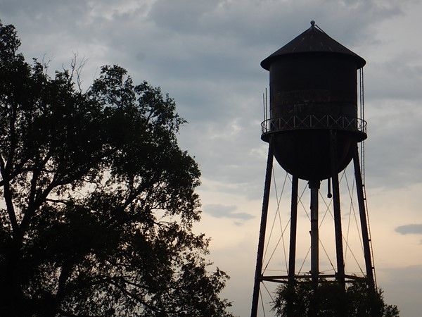 Strong City's iconic water tower against the beautiful Oklahoma skies