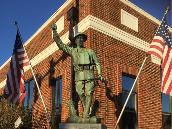 The iconic Doughboy statue honors all local soldiers who lost their lives for our country