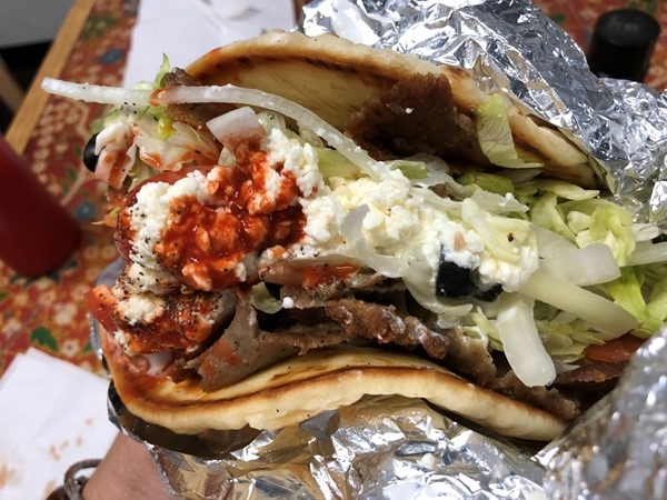 A Gyro from Akropolis with a little Louisana hot sauce, tasty