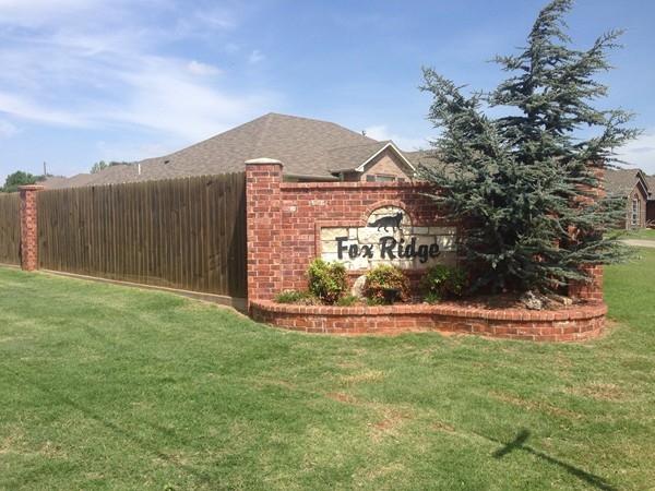 Fox Ridge subdivision entrance