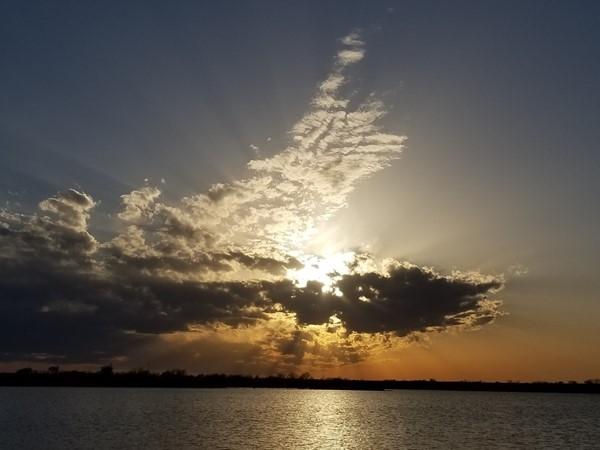 Sunset over Clinton Lake in Washita County