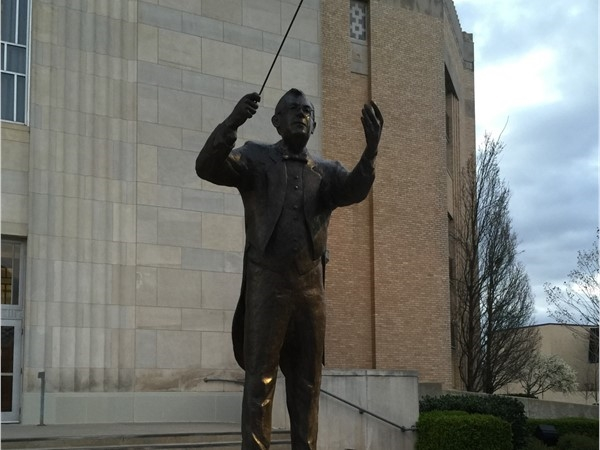Statue in front of Civic Center to honor conductors for the Philharmonic