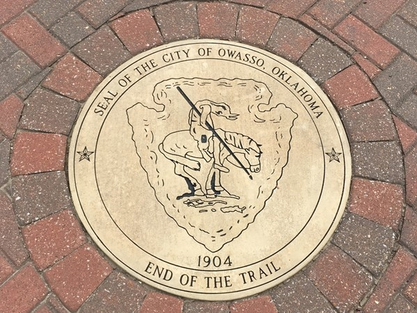 The seal of the city of Owasso, the trail ends here.  A lot of history in the area