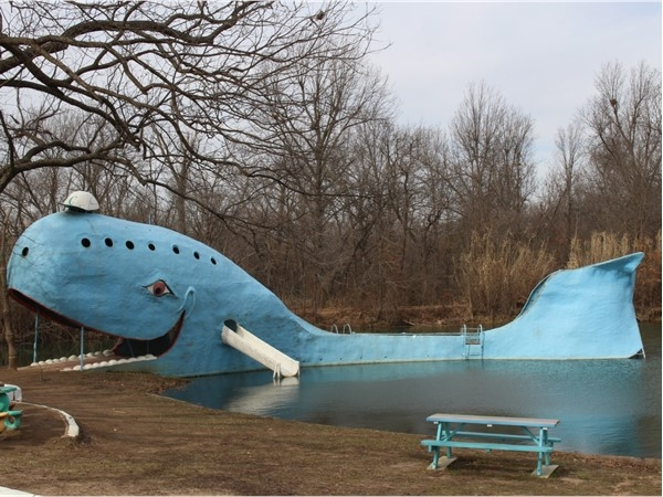 Iconic Blue Whale roadside attraction on historic Route 66 in Catoosa OK