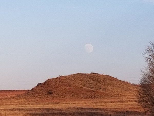 Beautiful moon over the hills in Roger Mills County