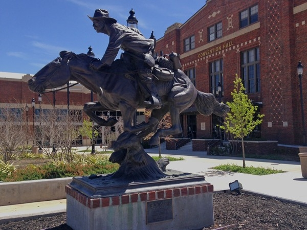 """Boomer"" is an iconic bronze sculpture outside the Convention Hall in downtown Enid."