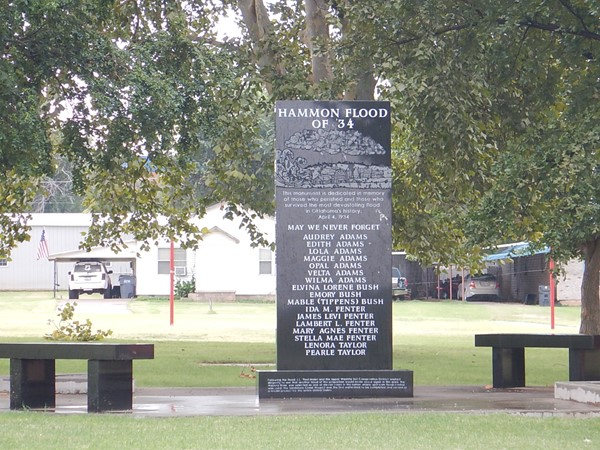 Benches and monument to reflect and never forget the Hammon flood of 1934