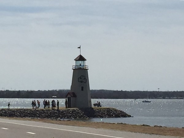 Lake Hefner Lighthouse, wearing the green already for Saint Patrick's Day