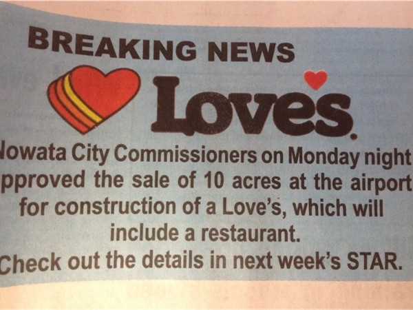 Great news for Nowata! We are exited to welcome the new Love's Truckstop to our community