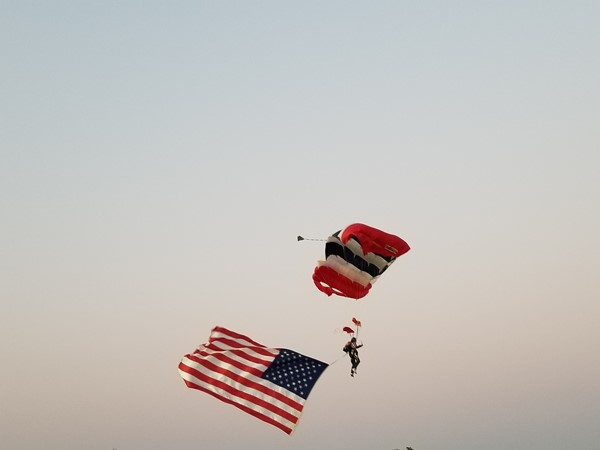 Awesome display of our flag at the Elk City Rodeo of Champions