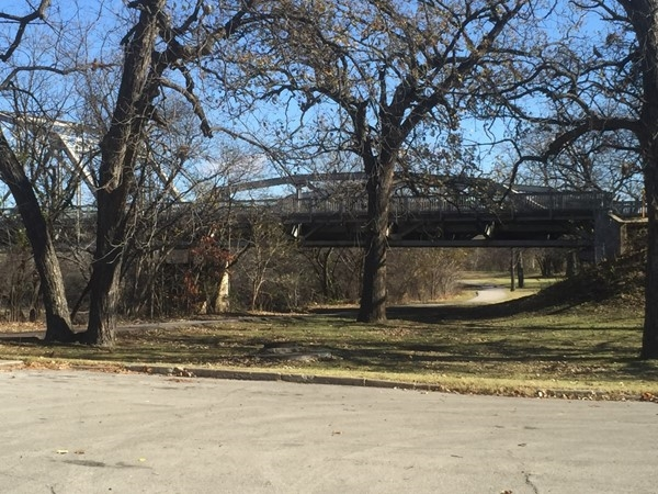 View of the Caney River bridge near Johnstone Park in Bartlesville Oklahoma