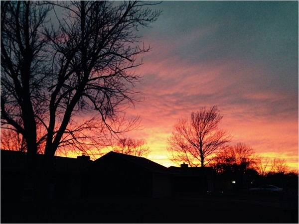 Winter sunset over Heritage Hills subdivision in Enid, OK.
