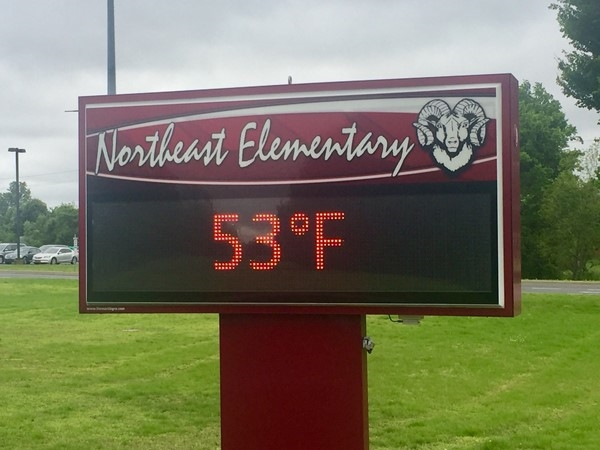 It's a chilly May day here in Owasso at Northeast Elementary