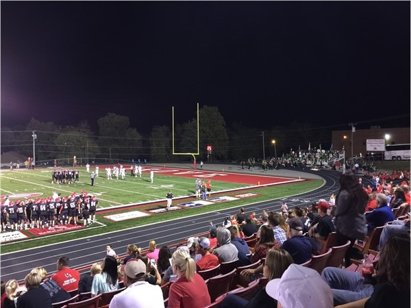 New artificial turf field and track at Grove High School Stadium