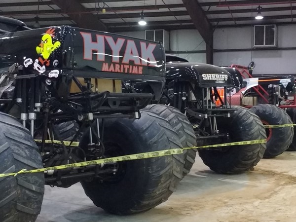 Monster truck show in the McAlester Expo Center