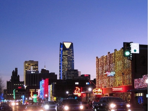 Downtown OKC at Christmastime. Looks great on Automobile Alley, N 10th and Broadway