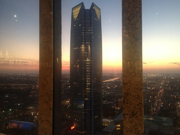 The Petroleum Club. What a view of the Devon Tower and Oklahoma City