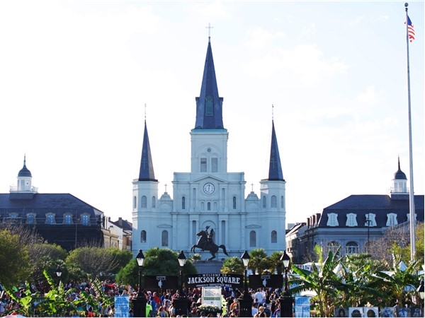 View of French Quarter Fest from Jackson Square