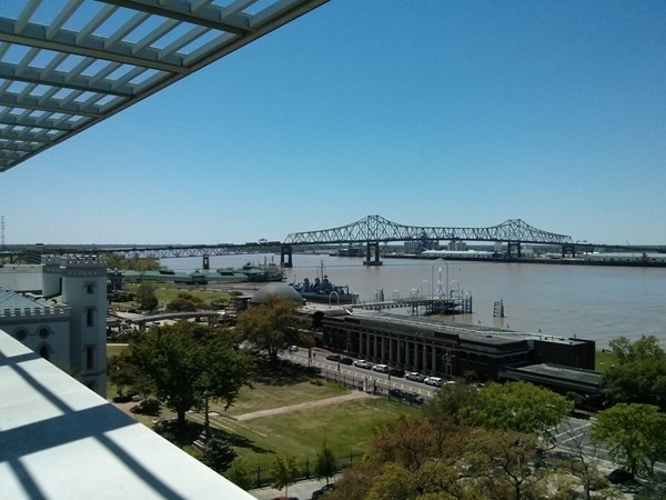 Views of the river and Louisiana Art and Science Museum from the terrace of Tsunami