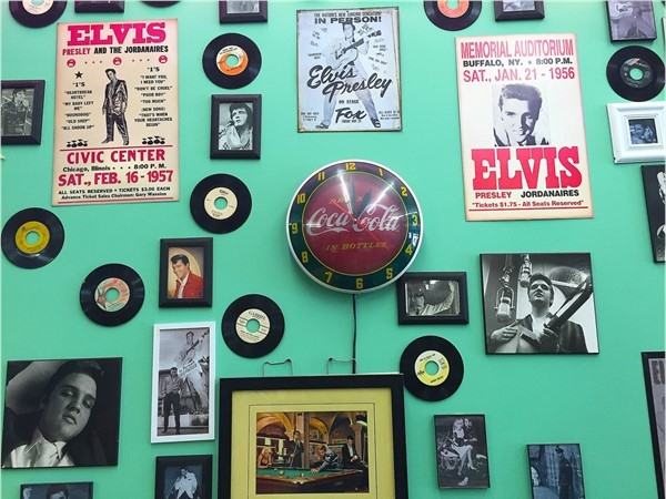 The 50's Diner features a large collection of Elvis memorabilia, along with great sweet potato fries