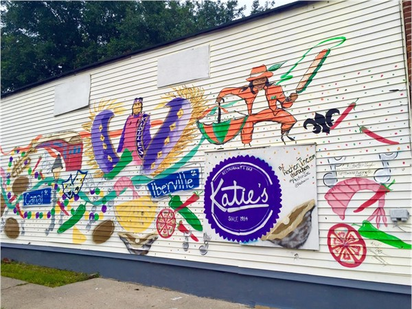 The mural across the street from local favorite, Katie's restaurant