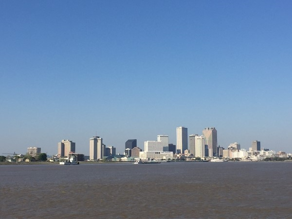 Crescent Park has an amazing view of downtown New Orleans and the Mississippi River