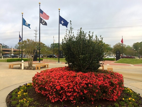 The beautiful plaza outside the St. Tammany Parish Justice Center in Covington