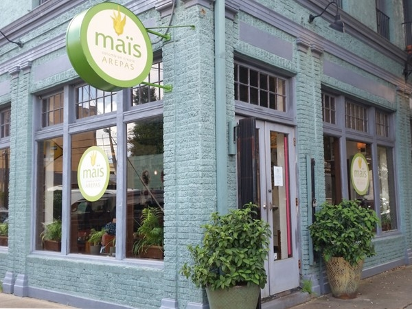 Maïs Arepas serves Colombian specialties in a contemporary setting at Carondelet and Clio Streets