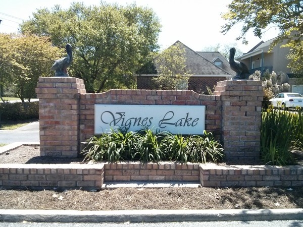 Entrance to Vignes Lake subdivision off of Vignes Rd.
