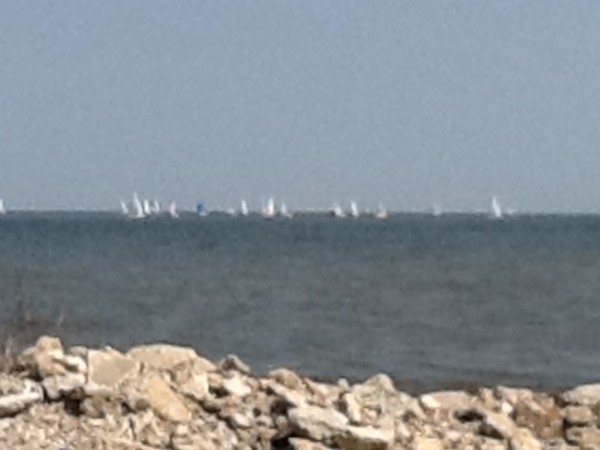 Sailboats on Lake Pontchartrain on a beautiful spring day