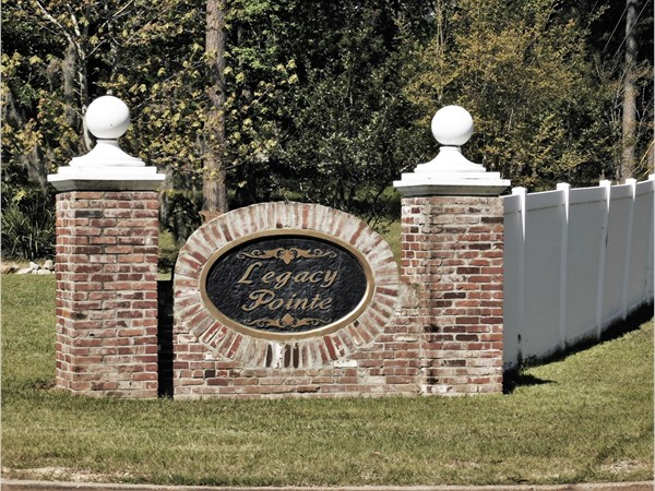 Entrance to the beautiful Legacy Pointe Subdivision