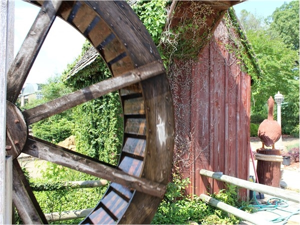 "The Thomas Nursery & Feed Pavilion's ""waterwheel"" is just one of many unique features to be found"