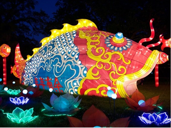 View over 30 bright, silk covered sculptures in the Botanical Gardens at City Park for China Lights