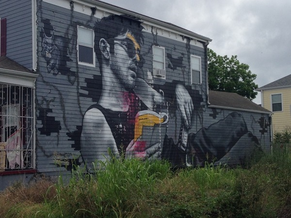 Incredible artwork on the side of a house in the Marigny