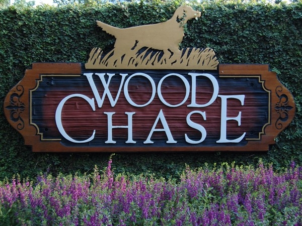 The entry to Woodchase - conveniently located off Perkins Road between College Drive and Essen