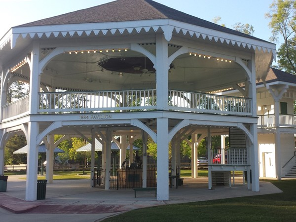 This pavilion once stood at the 1884 world's fair and now stand in the heart of Abita