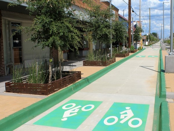 Enjoy the bike lanes in East Bank District in Downtown Bossier